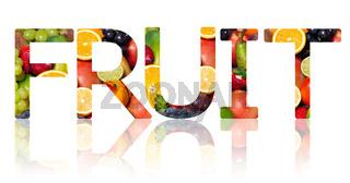 Das Wort FRUIT ausgeschnitten auf weißem Hintergrund