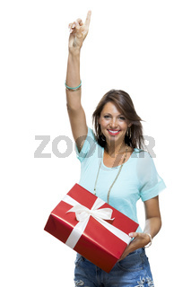 Happy Woman Holding Red Gift Box