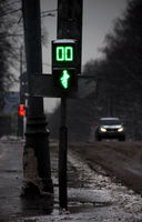 Gloomy winter street, ziro on traffic light