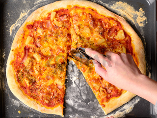 Homemade hawaii pizza