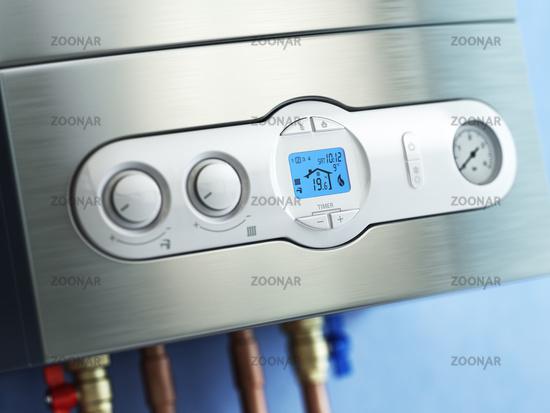 Gas boiler control panel. Gas boiler home heating.