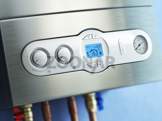 Gas boiler control panel. Gas boiler home heating.