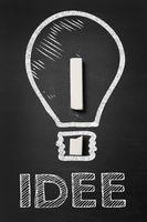 Konzept für Idee mit Glühbirne