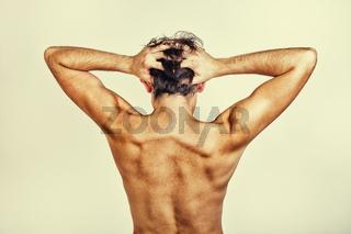 Naked back of man