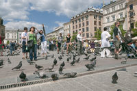 Krakow's Main Market Square crowded by tourists