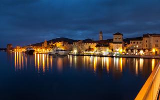 Old coastal town Trogir in Croatia at night