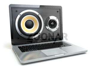 Digital audio or music software concept. Laptop and loudspeaker.