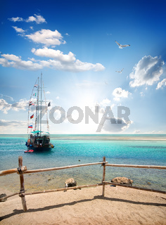 Sailboat near beach