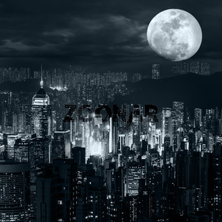 Hong Kong skyline at full moon night
