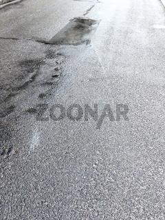 wet dark grey asphalt background