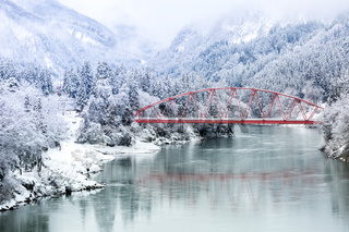 Red Bridge winter landscape