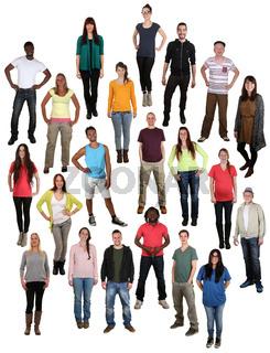 Lachen glücklich multikulturell junge People Gruppe viele Leute Hintergrund