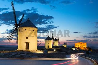 Windmills at dusk, Consuegra, Castile-La Mancha, Spain