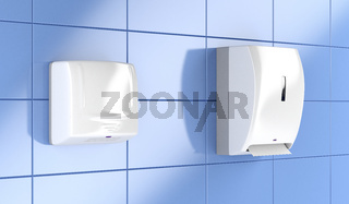Paper towel dispenser and hand dryer