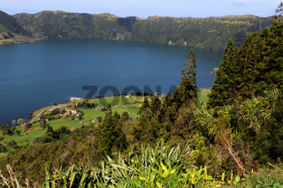 Crater of Cete Cidades with Lagoa Azul, Sao Miguel, Azores