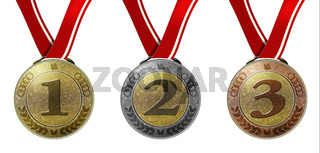 Set of three medals with numbers and ribbon