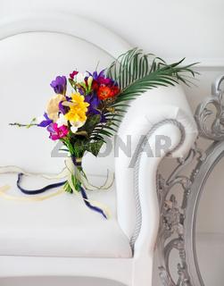 Beautiful colorful wedding bouquet