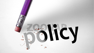 Eraser deleting the word Policy