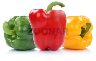 Paprika rot gelb grün bunt Paprikas Gemüse Freisteller freigestellt isoliert