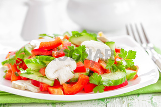 vegetable salad with mushrooms