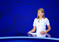 anchorwoman blue roses wall