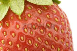 Macro view of a ripe red juicy strawberry