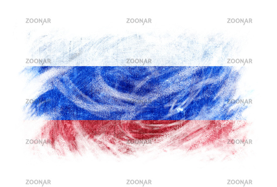 Russia flag blackboard chalk erased isolated