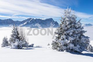 Winterliche Zugspitze mit Nebel