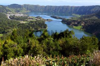 Cete Cidades with Lagoa Azul and Lagoa Verde, Sao Miguel, Azores