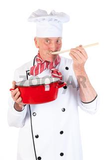 Cook taste the food