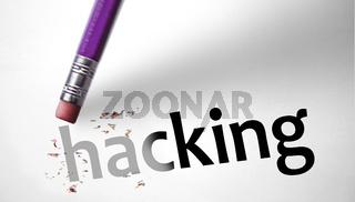 Eraser deleting the word Hacking