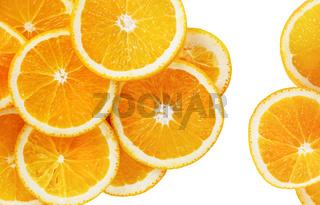 Orange slices on white