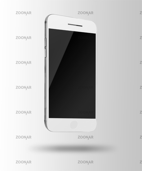Mobile smart phone with black screen on gray background.