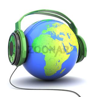 earth in headphones