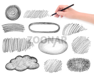 hand and pencil scribbles design elements