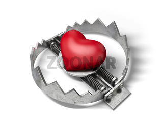 Red heart in the bear metal trap. 3D concept of lo
