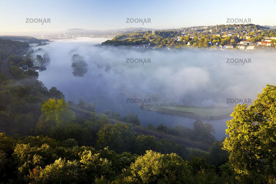 morning fog in the Ruhr valley in autumn, Witten, Ruhr Area, North Rhine-Westphalia, Germany