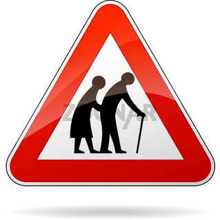 pedestrians warning sign