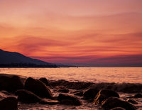 Pink Whispy Clouds At Sunrise Next To The Aegean Sea
