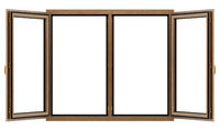 open brown wooden window isolated on white background