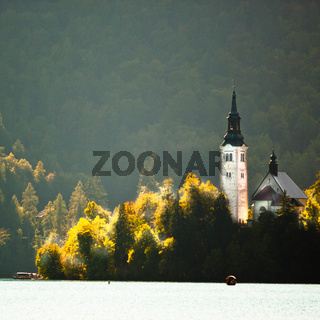 Panorama of Lake Bled in autumn.