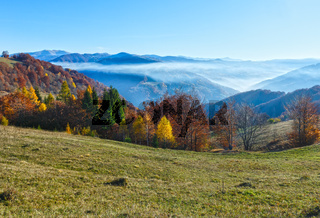 Morning fog in autumn Carpathian.