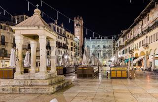 Nightview of Piazza delle Erbe in Verona