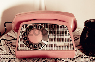 Retro rotary dial phone sepia toned