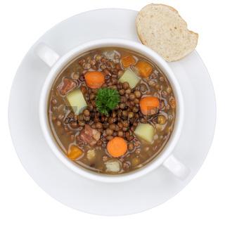Linsensuppe Linsen Suppe in Suppenschüssel Freisteller von oben