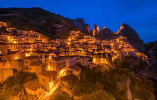 Castelmezzano at night, Basilicata, Italy