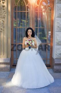 Brunette bride in a white dress