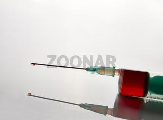 Syringe with blood sampling front tilt view