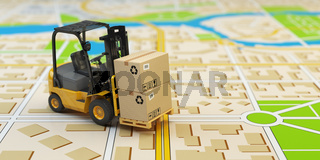 Forklift with cardboard boxes on the city map. Cargo delivery concept.