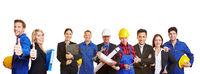 Arbeiter und Geschäftsleute als Team